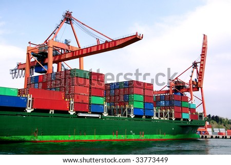 Container ship under loading on an industrial harbor