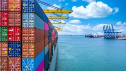 Container ship unloading in deep sea port crane, Global business logistic import export freight shipping transportation oversea worldwide container ship, Container vessel loading cargo freight ship.