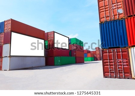 Container shipping for Logistic Import Export business and Industrial . empty white billboard .Blank space for text and images. #1275645331