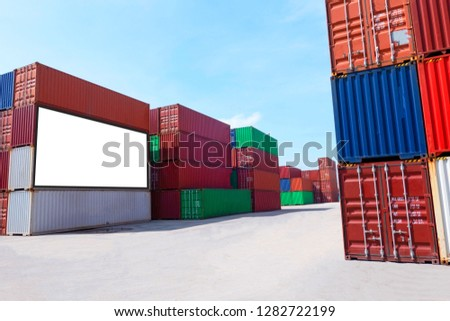 Container shipping for Logistic Import Export business and Industrial . empty white billboard .Blank space for text and images. #1282722199