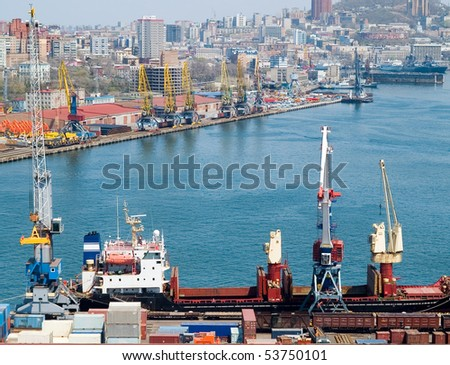 container terminal at russian port Vladivostok