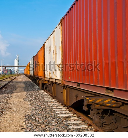 Container train on a railroad