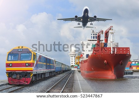 container trains commercial cargo Aircraft import export working crane ship on port use for logistic and transportation delivery. #523447867