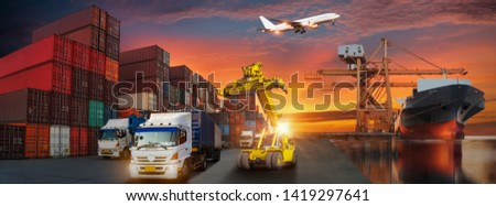 Container truck in ship port for business Logistics and transportation of Container Cargo ship and Cargo plane with working crane bridge in shipyard, logistic import export and transport background #1419297641