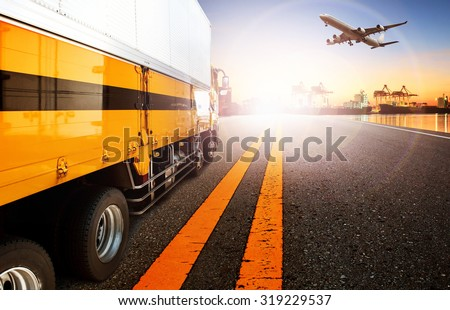 container truck in shipping port and cargo plane flying for logistic and transport business