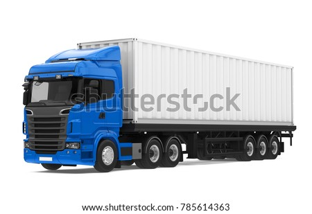 Container Truck Isolated. 3D rendering