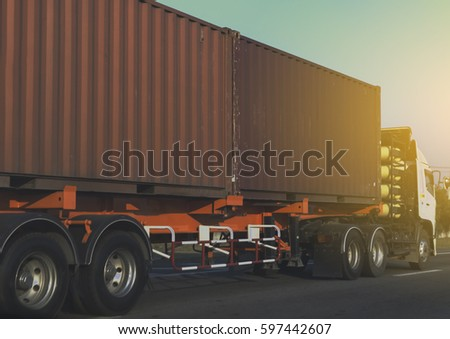 Container truck on road #597442607