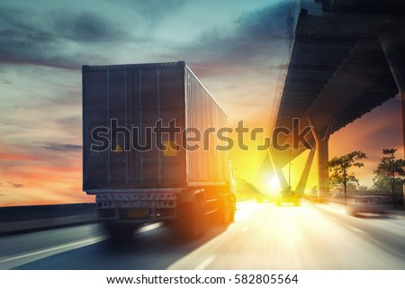 Container truck on the highway. #582805564