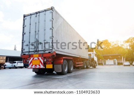 container trucks Logistic by Cargo truck on the road . #1104923633