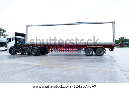 container trucks Logistic by Cargo truck on the road .empty white billboard .Blank space for text and images. #1242577849