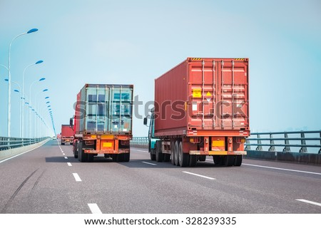 container trucks on the bridge, modern intermodal logistics background #328239335