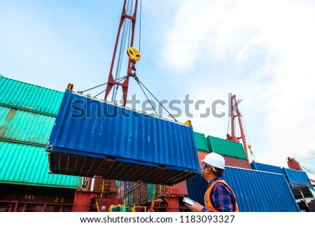 container unit being lifting loading by the ship's crane from the trailer delivery to the port terminal, the services of logistics and transport shipment to worldwide global #1183093327