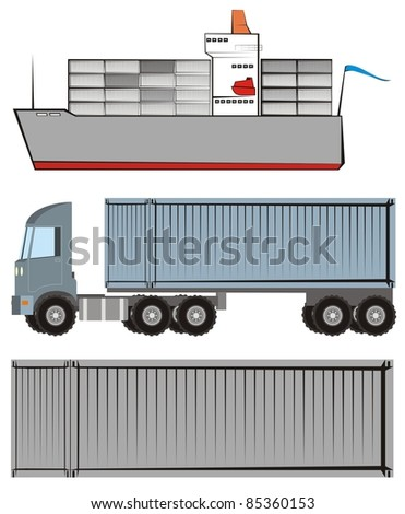 Container vessel / box ship, truck with a container chassis and a shipping container - Logistics / supply chain color raster illustration set