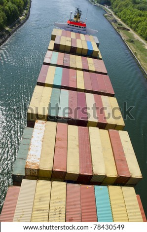 Container vessel, feeder - stock photo