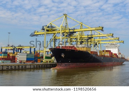 Container vessel moored in port #1198520656