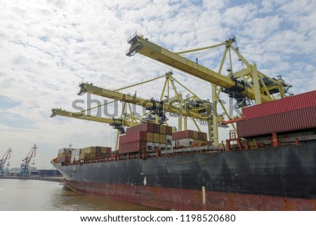 Container vessel moored in port #1198520680