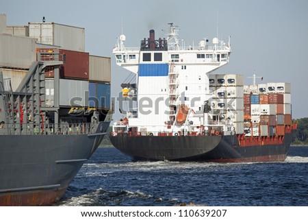 Container vessel on the Baltic Sea near Kiel, Germany