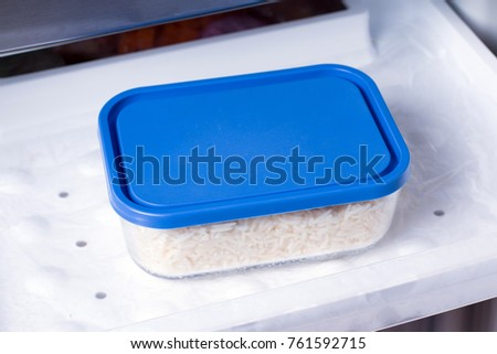 Container with food in the freezer. Healthy food