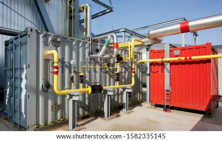 Container with pipe and other technological equipment. Special equipment containers.