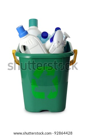 container with plastic waste, on white background