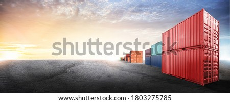 Containers box from cargo freight ship in dockyard with copy space and empty ground floor for design cover web, logistics import export business concept ストックフォト ©