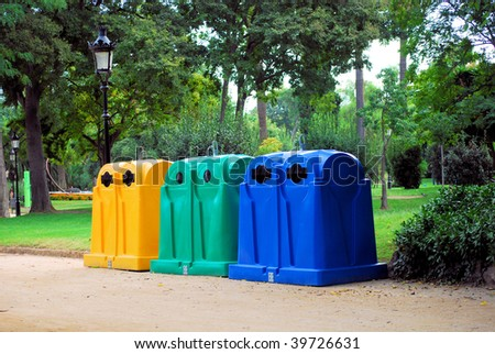 containers for assemblage and recycling  waste and dust in a botanical garden park of Barcelona