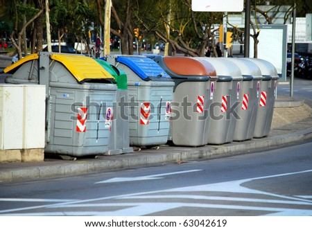 containers for dust in the street of barcelona