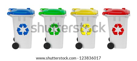 containers for recycling waste sorting - plastic, glass, metal, paper - stock photo