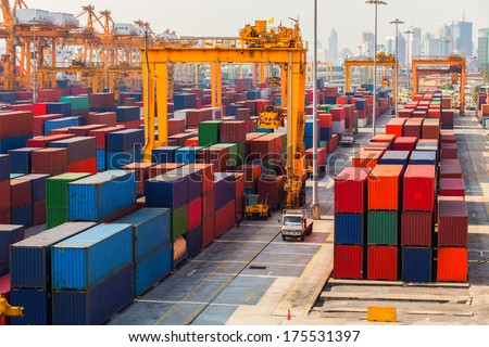 Containers in the port of Laem Chabang in Thailand.