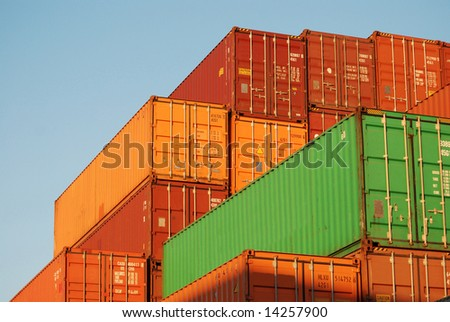 Containers in various colors in the port of Antwerp
