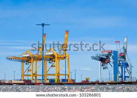 Containers loading at sea trading port in Finland.