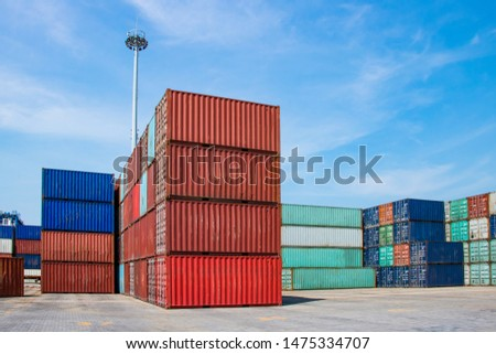 Containers on the wharf. International shipping logistics.