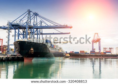 Containers port loading job by crane Trade Port Shipping