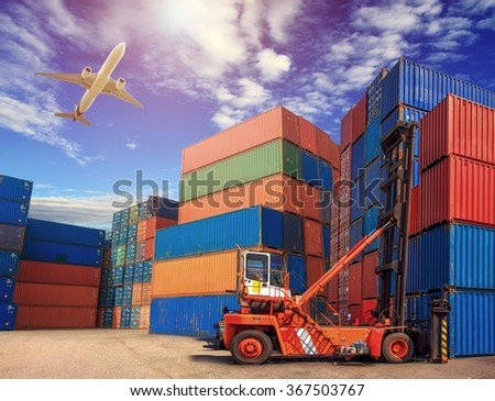 Containers shipping, forklift handling container box loading for logistic concept