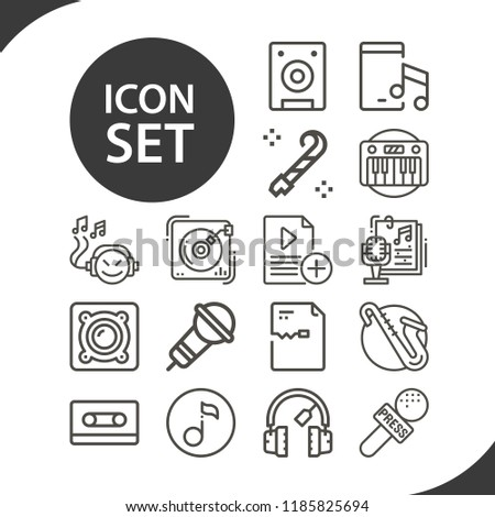 Contains such icons as microphone, file, speaker, music, record player, speakers, music tape, music player, quaver and more. editable stroke. 1000x1000 pixel perfect.