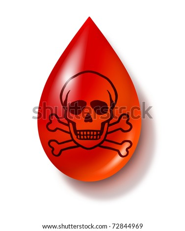 contaminated blood symbol isolated on white representing dangerous types of medical practices. - stock photo