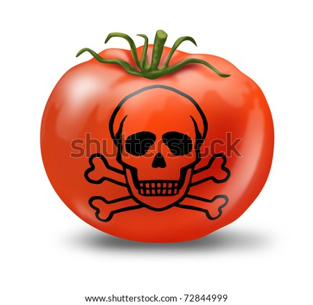 Contaminated Food poisoning symbol represented with a tomato and skull and bones showing the concept of produce that is not safe to eat.