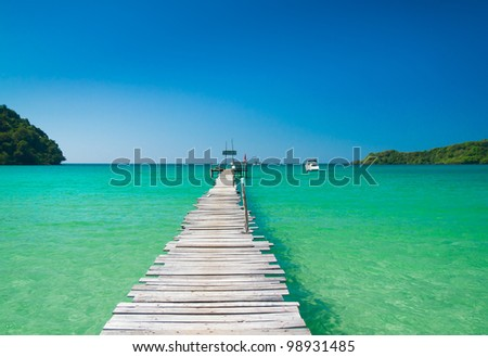 Contemplating the Sea Path filled with Love - stock photo