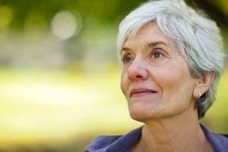 Contemplative senior woman.