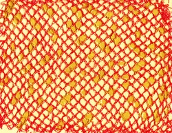 Contemporary abstract art illustration. Red plaid meshy texture and yellow color paint drops. Colorful background expressive impressionist modern painting banner postcard poster. Grungy paper texture