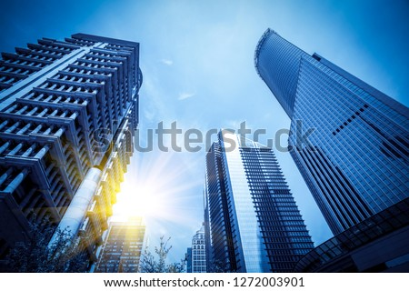 Contemporary architectural office building, urban landscape, per #1272003901