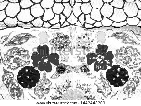 Contemporary Art. Black and White Funky Ornate Sketch. Spotted Texture. Hand Drawn Splash. Gray Abstract Dirty Painting. Funky Ornate Sketch.