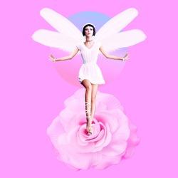 Contemporary art collage. Angel Dreams girl