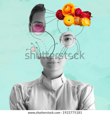 Contemporary art collage. Beautiful young girl and red yellow flowers isolated on light blue background. Black and white portrait. Copy space for text, ad. Flyer. Square composition. Modern artwork.