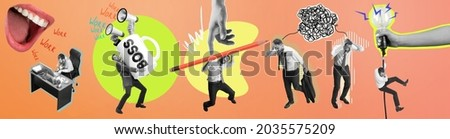 Contemporary art collage. Composition with angry abstract boss mouth shouting employeer, manager isolated over peach color background.. Business, work, caree concept. Horizontal flyer