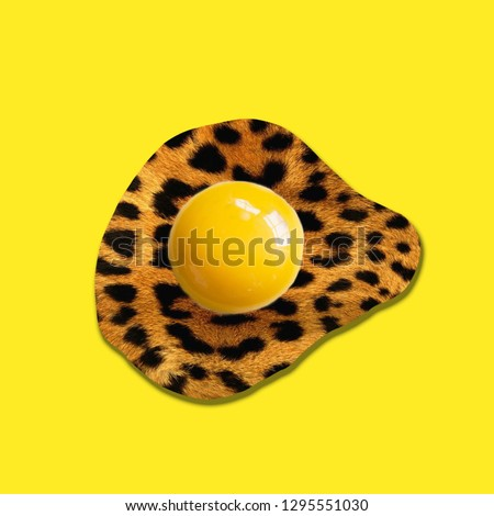 Contemporary art collage. Concept leopard egg yolk. #1295551030