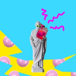 Contemporary art collage. Concept statue holding cocktail.