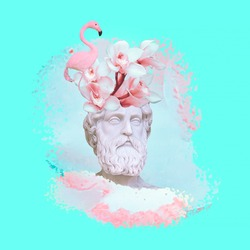 Contemporary art collage. Concept trendy greek statue and blooming vibes