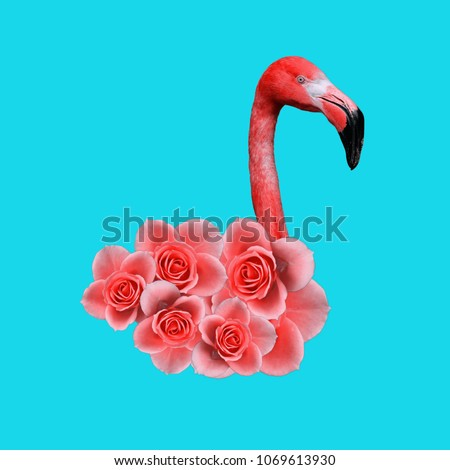 Contemporary art collage, Flamingos Lover