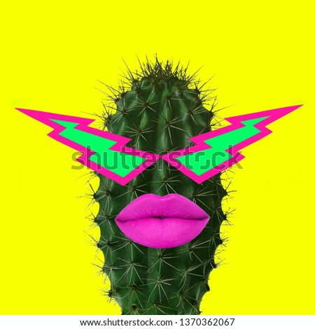 Contemporary art collage. Funky Cactus. #1370362067